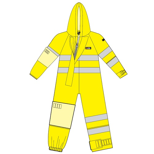 Chemsol Boilersuit with Hood Yellow - With Glovezon and Heat Applied Reflective Tape Medium