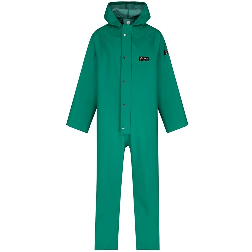 Chemsol Hooded Boilersuit Green Small for Chemical Protection