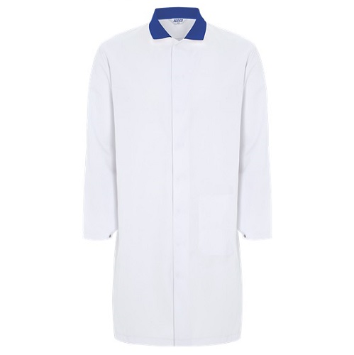 Mens Food Coat White with Blue Collar 36""