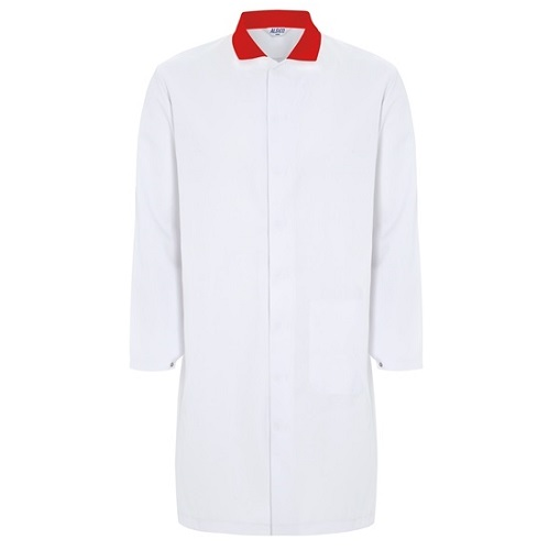 Mens Food Coat White with Red Collar 36""