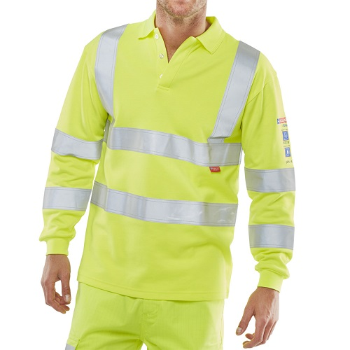 ARC Flash Hi Vis Polo Shirt Yellow Large