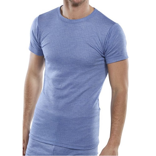 Thermal Vest Short Sleeved Blue Small