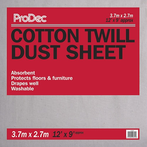 Cotton Twill Dust Sheet 3.7 x 2.7m (12' x 9')