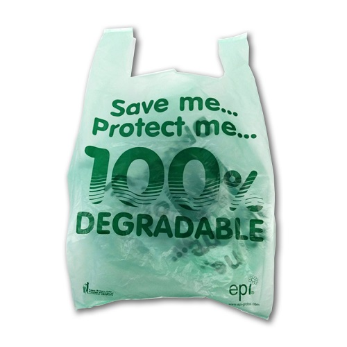 "Vest Carrier Bags Green Tint Degradable 11 x 17 x 21"" 2000's"