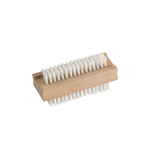 "Double Sided Wooden Nail Brush 3.75"" Nylon Bristle"