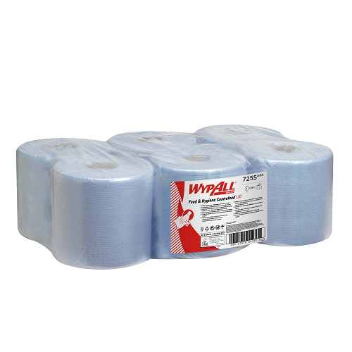 WypAll® Food & Hygiene L10 Wiping Paper Centre Feed Roll 1 Ply Blue 304 m 6's (To replace KC7265)