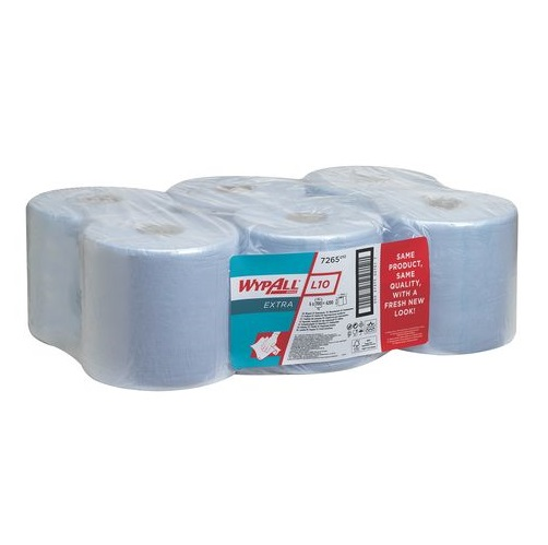 Wypall L10 Extra Wipers Centre Feed Blue 1 Ply 6 Rolls x 700 Sheets = 4200's