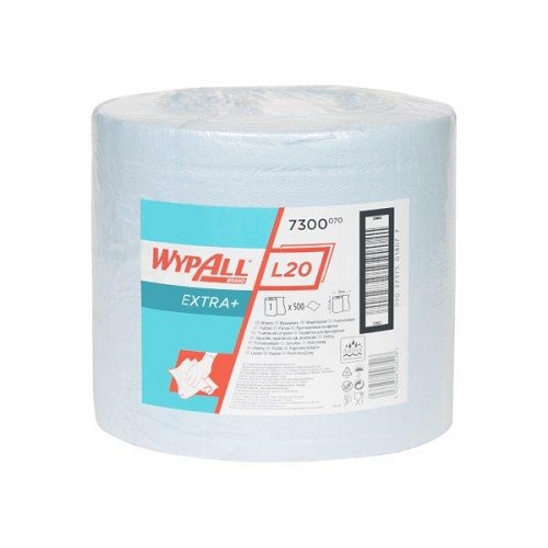 Wypall L20 Extra Blue Cloths Single Roll 500 Sheets 23.5 x 38cm