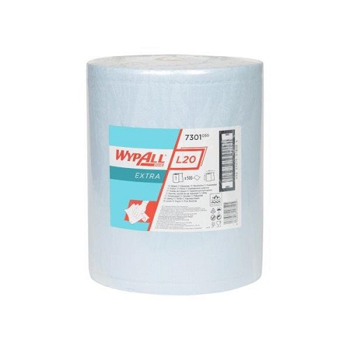 Wypall L20 Extra Blue Cloths Single Roll 500 Sheets 33 x 38cm