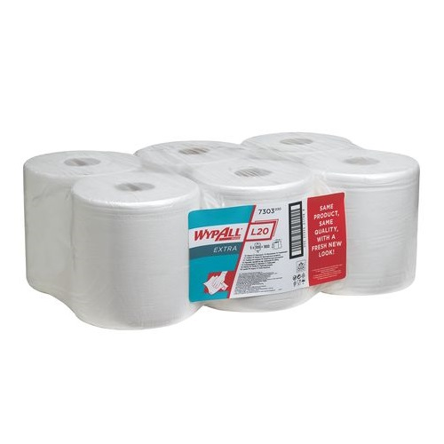 Wypall L20 Extra Wipers Centre Feed White 2 Ply 6 Rolls x 300 Sheets = 1800's