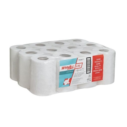 Wypall L10 Extra Wipers Mini Centre Feed White 1 Ply 12 Rolls x 200 Sheets = 2400's