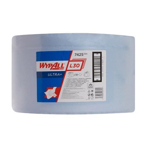 Wypall L30 Ultra Blue Cloths Single Roll 750 Sheets 23.5 x 38cm