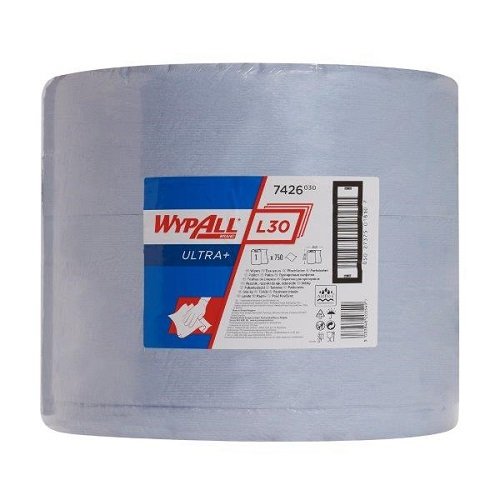 Wypall L30 Ultra Blue Cloths Single Roll 750 Sheets 33 x 38cm