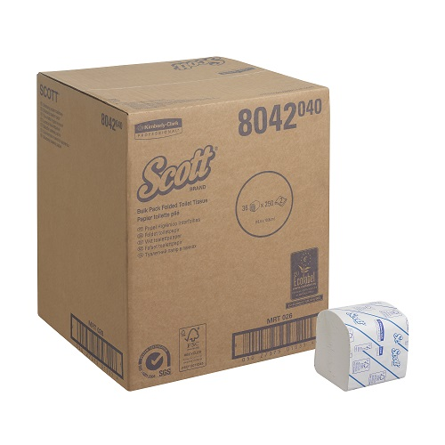 SCOTT® CONTROL(TM) Toilet Tissue Folded White 2 Ply 36 Sleeves x 250 Sheets (To replace KC8577)
