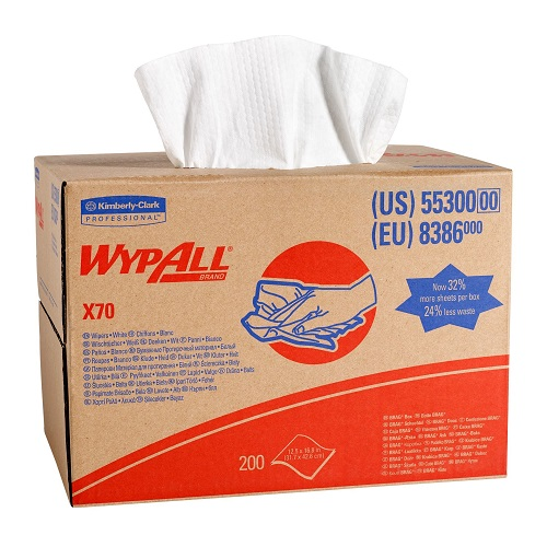 Wypall X70 Brag Box Cloths White 1 Ply 200's