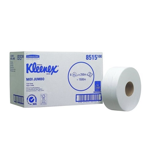 KLEENEX Midi Jumbo Toilet Rolls White 2 Ply 6 Rolls x 250 m (To be replaced with KC8570)