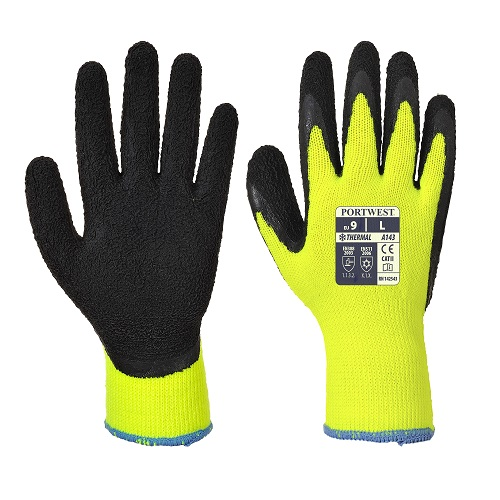 Portwest A143 Thermal Soft Grip Gloves Yellow / Black Medium