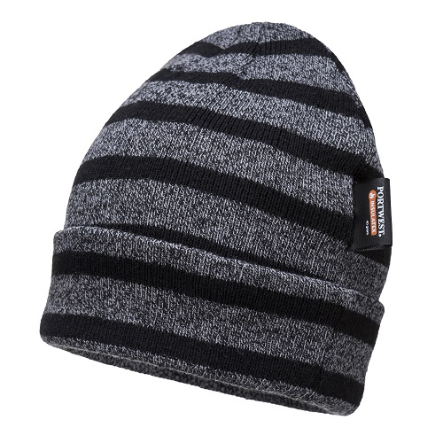 Portwest B024 Striped Insulated Knit Cap Grey / Black