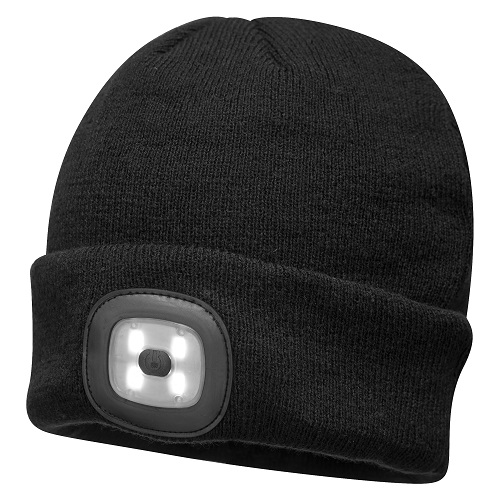Portwest B029 Beanie LED Head Light USB Rechargeable Black