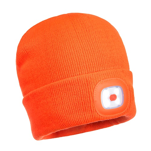 Portwest B029 Beanie LED HeadLight USB Rechargeable Orange
