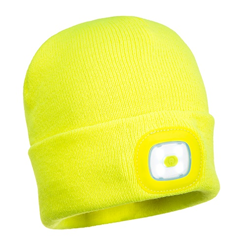 Portwest B029 Beanie LED HeadLight USB Rechargeable Yellow