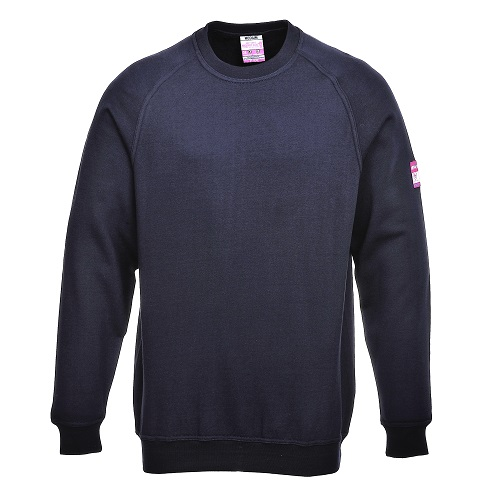 Portwest FR12 Flame Resistant AntiStatic Long Sleeve Sweatshirt Navy Large