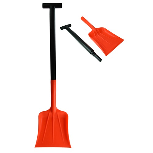 2 Part Compact Motorist Snow Shovel Red