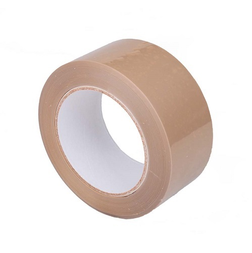 Tan Polypropylene Carton Tape 50mm x 66m Solvent Adhesive Single Roll
