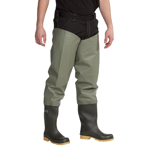 Ocean Classic Waders Light Olive with Studs and S5 Safety Boots 7XL-8XL