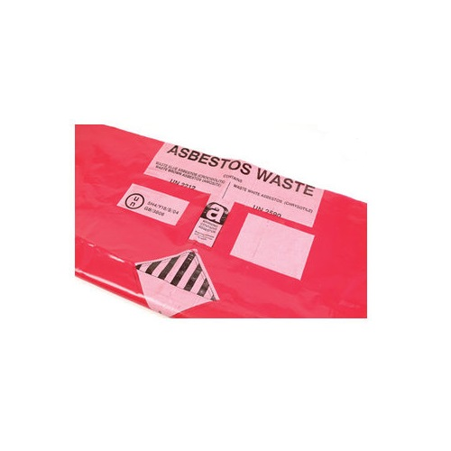 Red Printed Bags for Asbestos Waste 900 x 1200mm Heavy Duty 100's