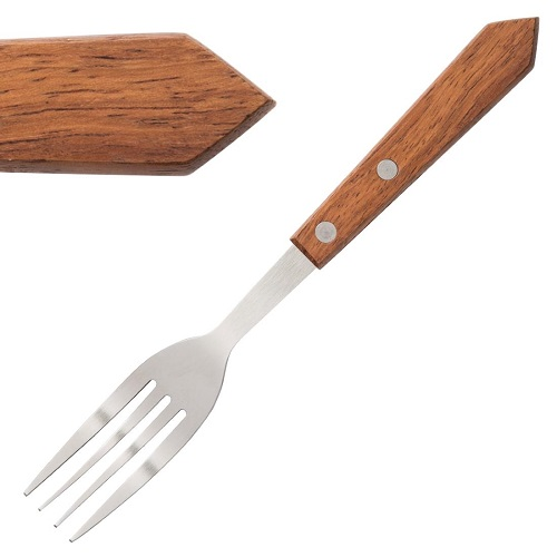 Olympia Steak Fork Wooden Handle - Pack of 12