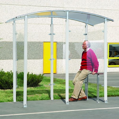 Steel Framed Free Standing Smoking Shelter 2 m wide x 1 m Deep - 2 Person