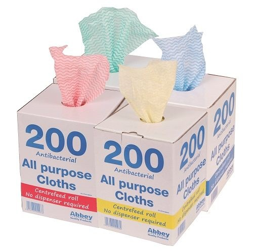 All Purpose Cloths Anti-Bac Cloths in a Dispenser Blue 200's