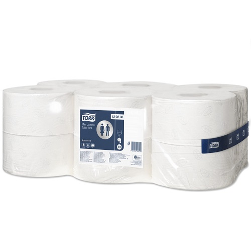 Tork Mini Jumbo T2 Toilet Roll Advanced White 12's