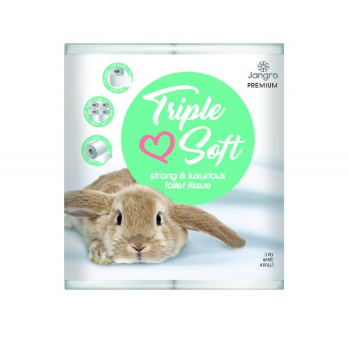 Jangro Premium Triple Soft Toilet Tissue Rolls (Ex Whisper Silk) White 3 Ply 40's