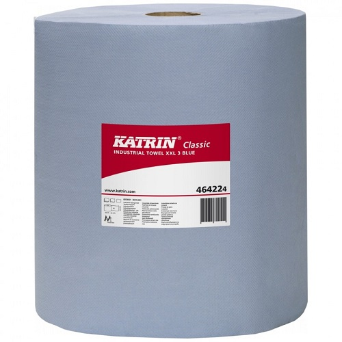 Katrin Classic Industrial Wiper XXL Embossed 500 Sheets Blue 3 ply 2 rolls per case