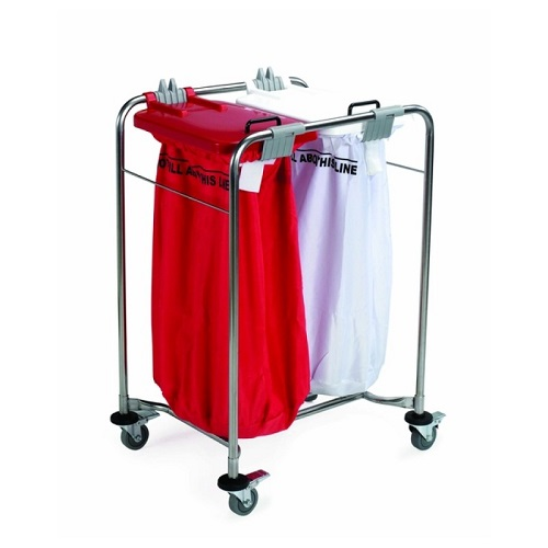 Laundry Cart 2 Bag With White and Red Lids