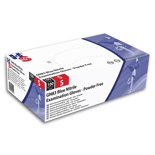 Nitrile Powder Free Examination Gloves Small Blue 100's