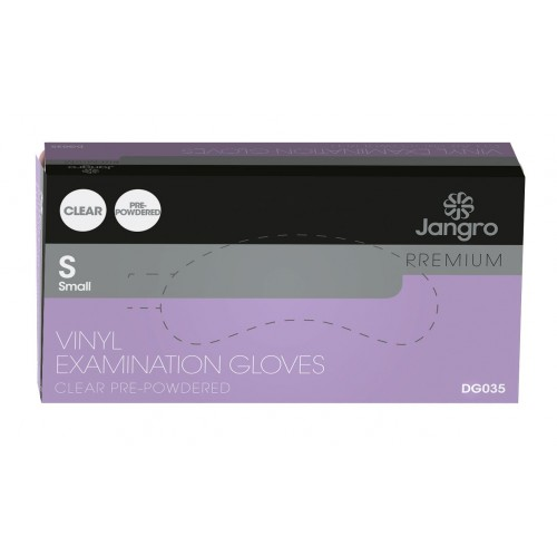 Premium Vinyl Examination Gloves Pre-Powdered Clear 100's S