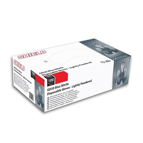 GD20 Nitrile Disposable Gloves Lightly Powdered Blue 100's S